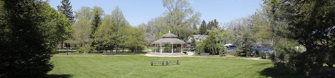 Image of a gazebo in a park.